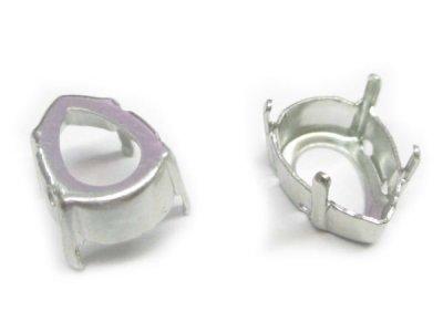 画像1: ペアMM14,0X10,0用石座 ロジウムカラー10個