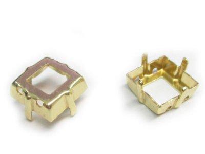 画像1: 4447用プリンセススクェアMM10,0用石座 ゴールドカラー10個