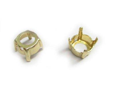 画像1: 埋込型ラウンドストーンSS29用石座 ゴールドカラー10個