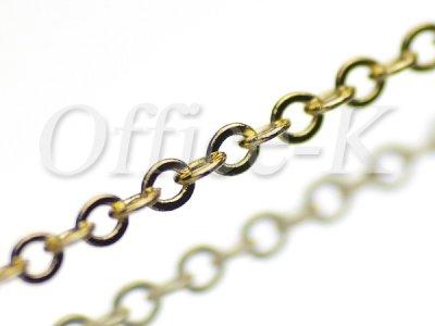 つぶし小判(平小豆)型チェーン 18金メッキ 線径0,45MM 約10M
